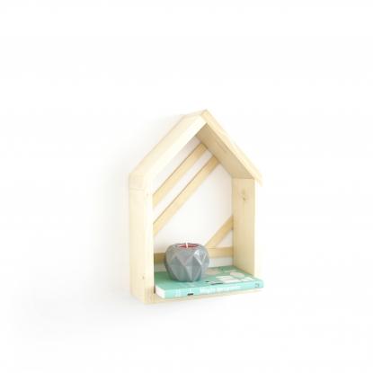 Półka Domek w kolorze naturalnym ze wzorem