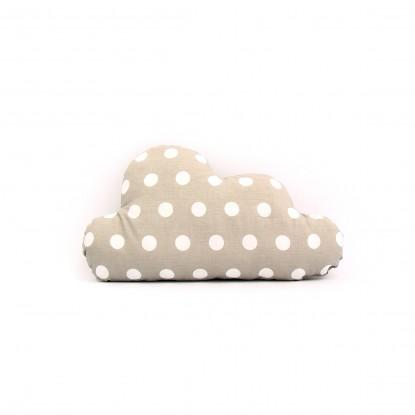 Poduszka Chmurka Białe Grochy na Szarym