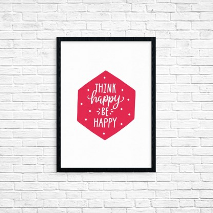 "Plakat A3 ""Think happy, be happy"" (62A)"