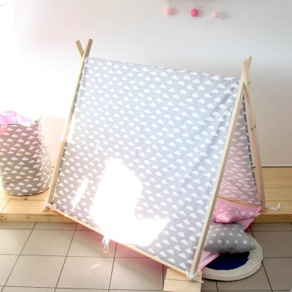 Namiot dla dzieci z matą, Białe Plusy na Czarnym i Żółta Mata