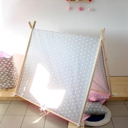 Namiot dla dzieci z matą, Gwiazdki na Białym i Czarna Mata