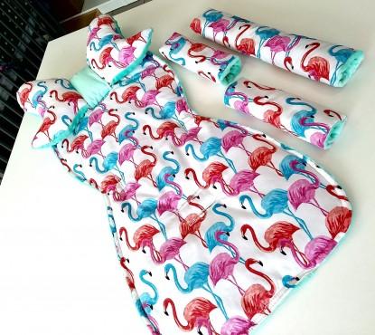 Wkładka do wózka, komplet 6-cio elementowy Flamingi i Mięta