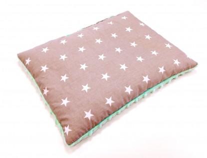 Płaska poduszka Minky Małe Gwiazdki i Mięta