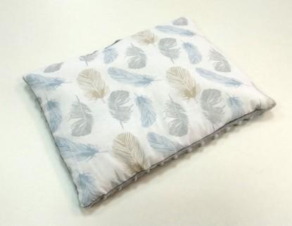 Płaska poduszka Minky Niebieskie Piórka i Szary [PREMIUM] 30x40cm