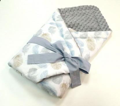 Rożek niemowlęcy Niebieskie Piórka i Szary [PREMIUM]