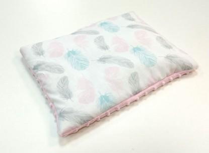 Płaska poduszka Minky Różowe Piórka i Róż [PREMIUM] 30x40cm