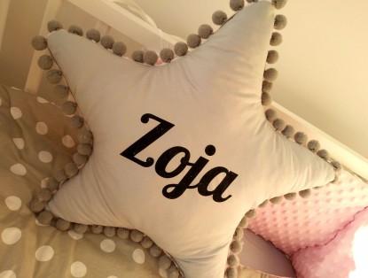 Poduszka z imieniem Zoja w kształcie gwiazdki
