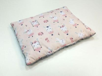 Płaska poduszka Minky Różowe Króliczki i Szary 30x40cm