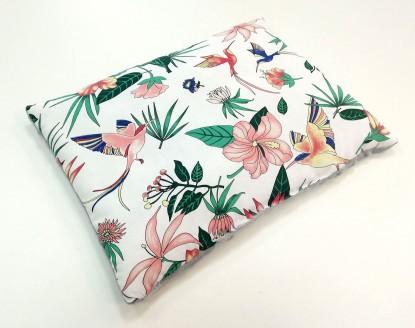 Płaska poduszka Minky Kolorowe Kolibry i Szary [PREMIUM] 30x40cm