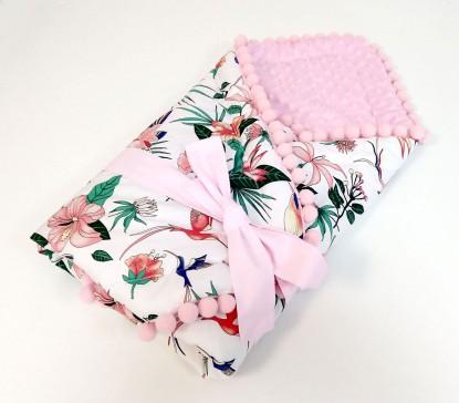 Rożek niemowlęcy Kolorowe Kolibry i Róż [PREMIUM]