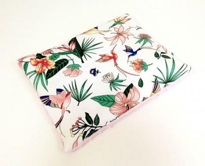 Płaska poduszka Minky Kolorowe Kolibry i Róż [PREMIUM] 30x40cm