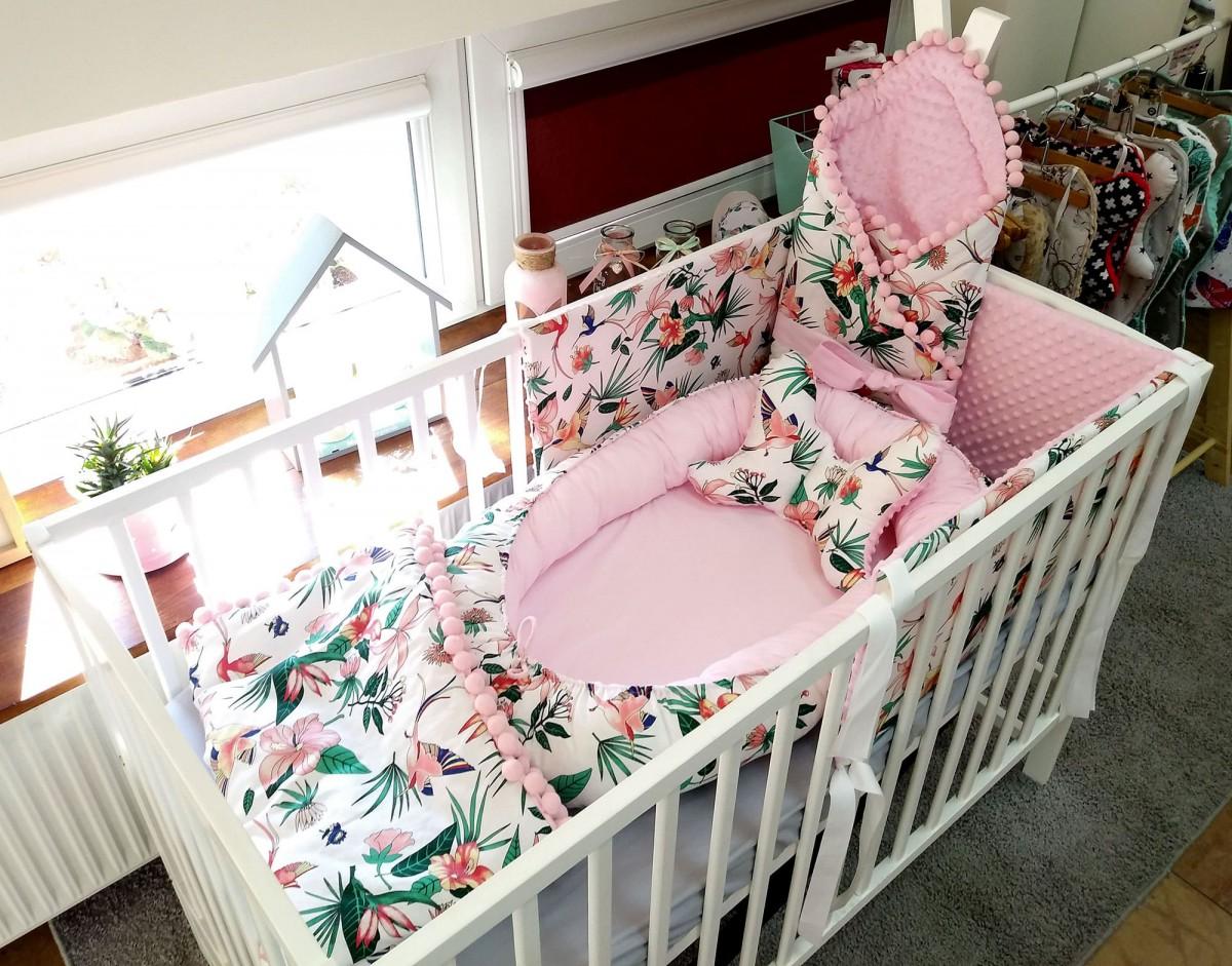 Kokon niemowlęcy Kolorowe Kolibry i Róż [PREMIUM]