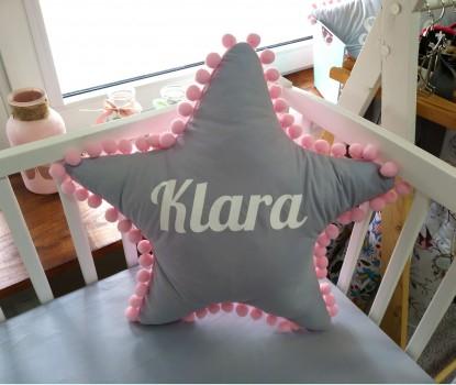 Poduszka z imieniem Klara w kształcie gwiazdki