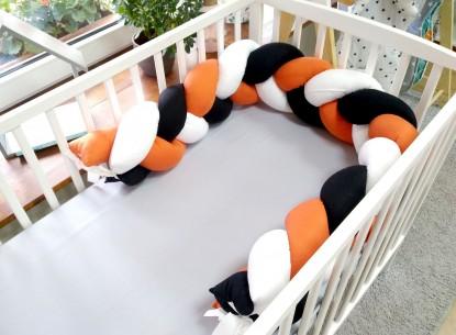 Ochraniacz Pleciony Warkocz Czarno Biało Pomarańczowy