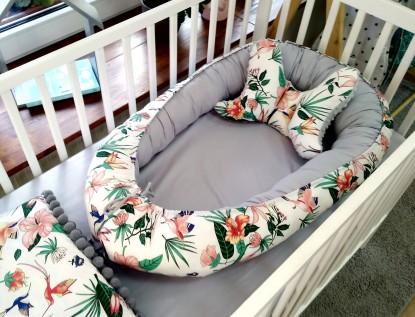 Kokon niemowlęcy Kolorowe Kolibry i Szary [PREMIUM]
