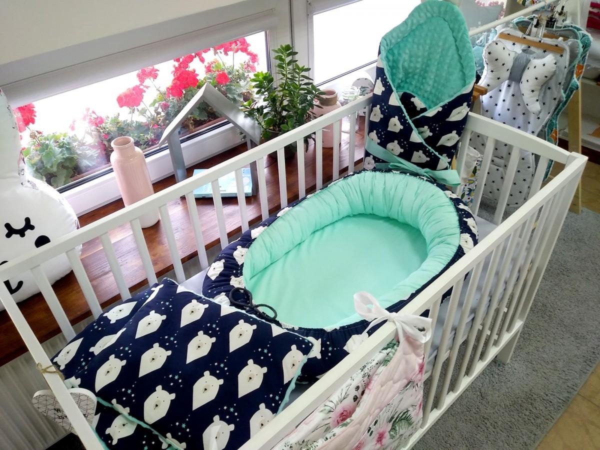 Kokon niemowlęcy Nocne Misie i Mięta [PREMIUM]