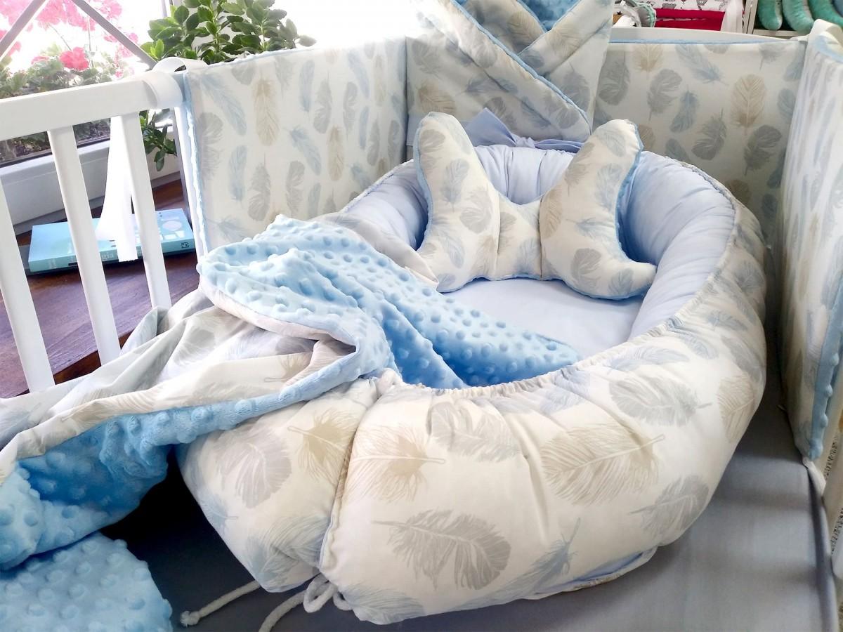 Kokon niemowlęcy Niebieskie Piórka i Niebieski [PREMIUM]