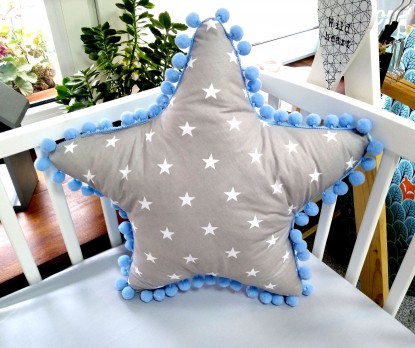 Poduszka Gwiazdka Gwiazdy na szarym i Niebieski