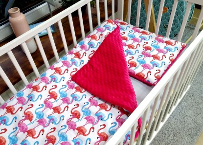 Kołderka Flamingi i Fuksja
