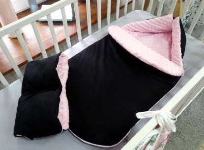 Śpiworek do wózka Czerń i Róż