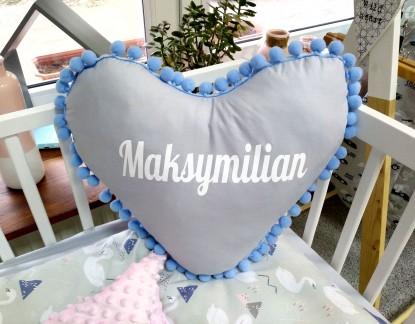 Poduszka z imieniem Maksymilian w kształcie serca