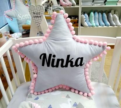 Poduszka z imieniem Ninka w kształcie gwiazdki