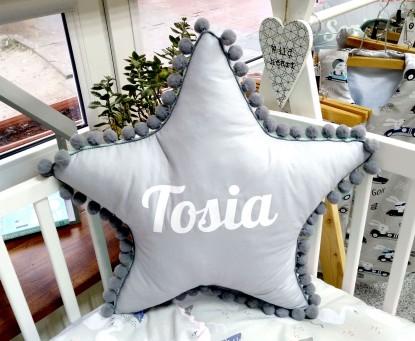 Poduszka z imieniem Tosia w kształcie gwiazdki