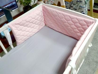 Ochraniacz do łóżeczka Velvet Różowy