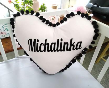 Poduszka z imieniem Michalinka w kształcie serca