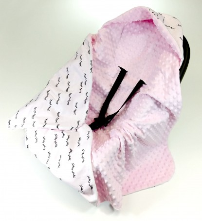 Kocyk do nosidełka i fotelika Oczka i Róż (wersja ocieplana)