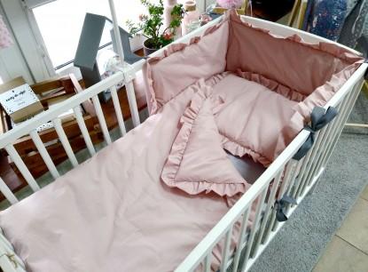 3-el pościel do łóżeczka Brudny Róż z falbankami