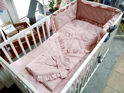 4-elementowa pościel do łóżeczka Brudny Róż z falbankami