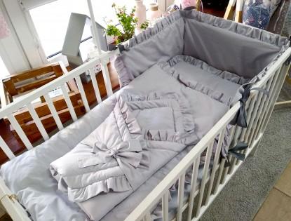 4-elementowa pościel do łóżeczka Szare z falbankami