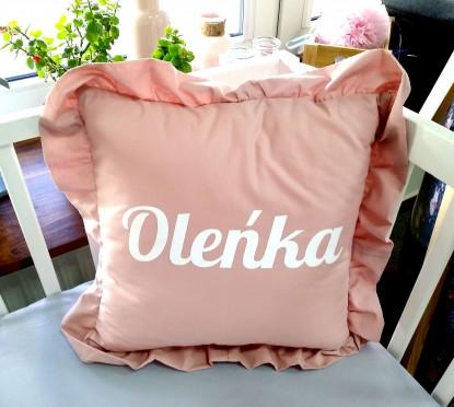 Poduszka z falbanką z imieniem Oleńka Kwadratowa