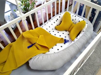 3-el pościel do łóżeczka Kokon Galaktyka Velvet + Zestaw Waffle Miodowy