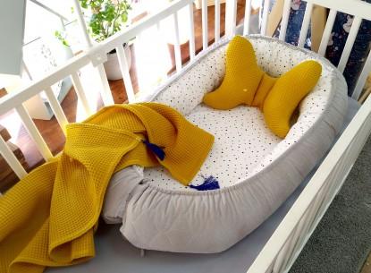 3-el pościel do łóżeczka Kokon Konfetti Velvet + Zestaw Waffle Miodowy
