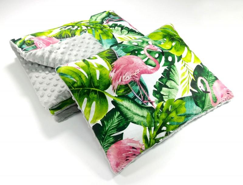 Zestaw do wózka Flamingi i Szary z płaską poduszką (wersja wiosna/lato)