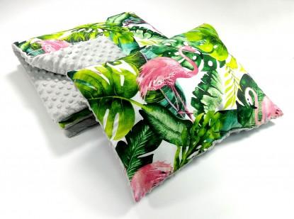 Zestaw do wózka Flamingi i Szary z grubą poduszką (wersja wiosna/lato)