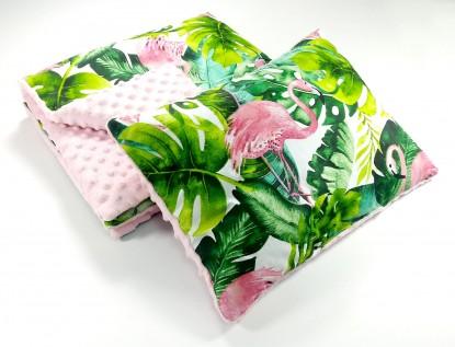 Zestaw do wózka Flamingi i Róż z płaską poduszką (wersja wiosna/lato)