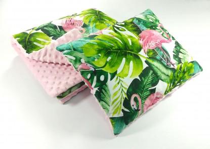 Zestaw do wózka Flamingi i Róż z grubą poduszką (wersja wiosna/lato)