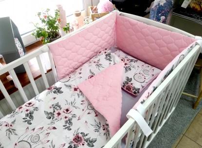3-el pościel do łóżeczka Velvet Różowe Łapacze Snów