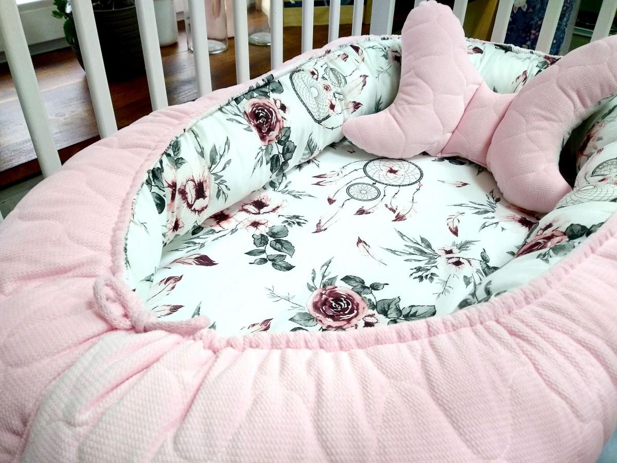 5-elementowa pościel do łóżeczka Velvet Różowe Łapacze Snów