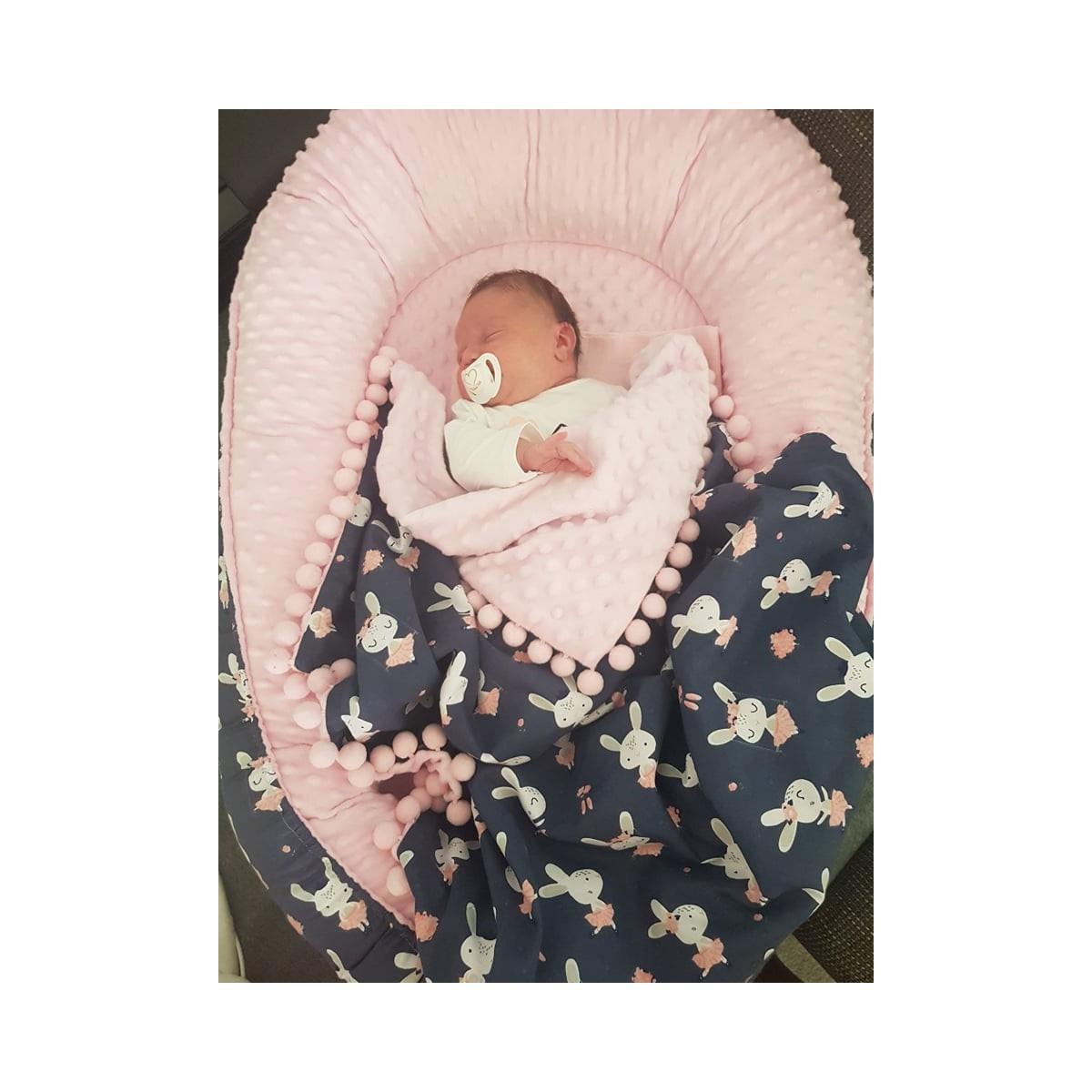 Kokon niemowlęcy Granatowe Króliki i Róż