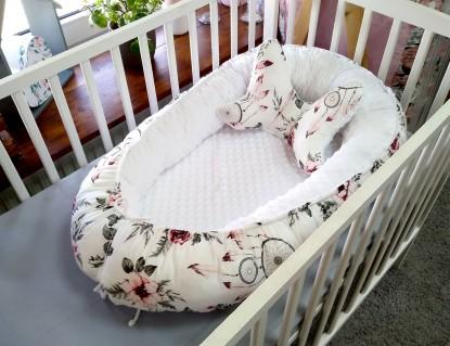 Kokon niemowlęcy Różowe Łapacze Snów i Biel