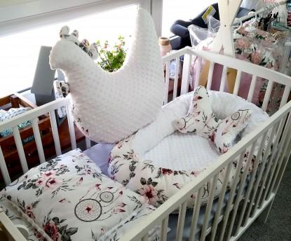 5-elementowa pościel do łóżeczka Różowe Łapacze Snów i Biel
