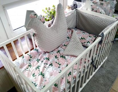 4-elementowa pościel do łóżeczka Papugi i Szary