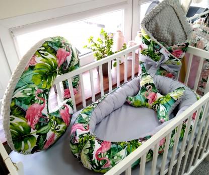 4-elementowa pościel do łóżeczka Flamingi i Szary