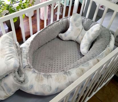 Kokon niemowlęcy Niebieskie Piórka i Szary [PREMIUM]
