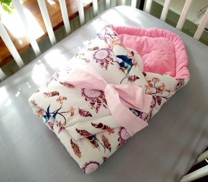 Rożek niemowlęcy Ptaszki i Różowy Velvet