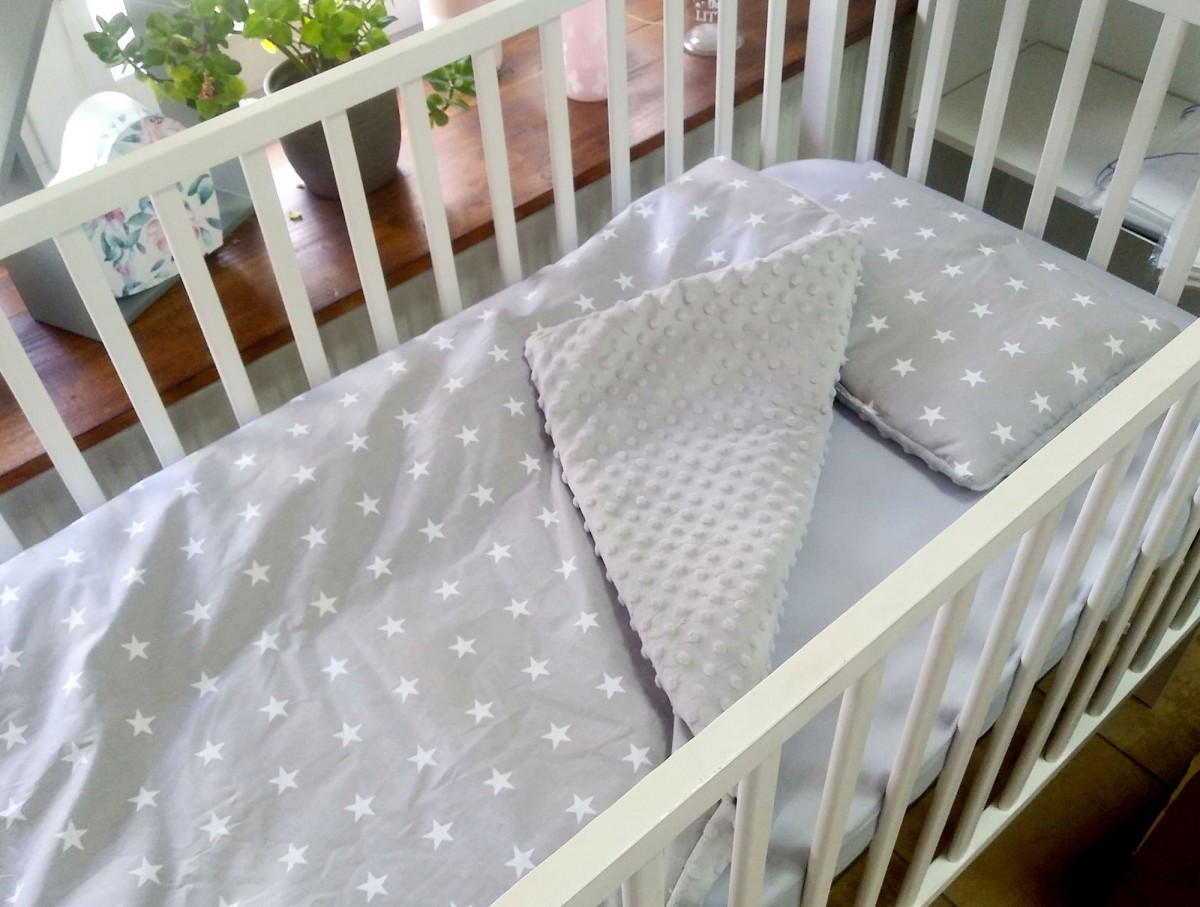 3-el pościel do łóżeczka Gwiazdy i Szary